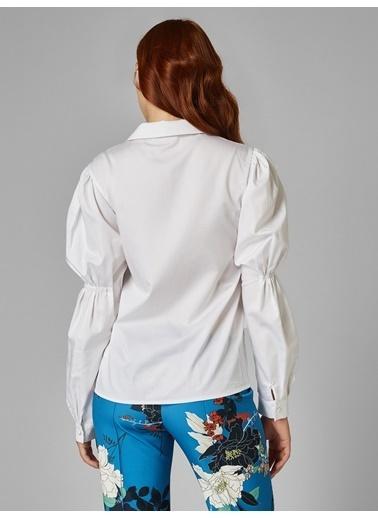 Vekem-Limited Edition Plikaşe Detaylı Gömlek Beyaz